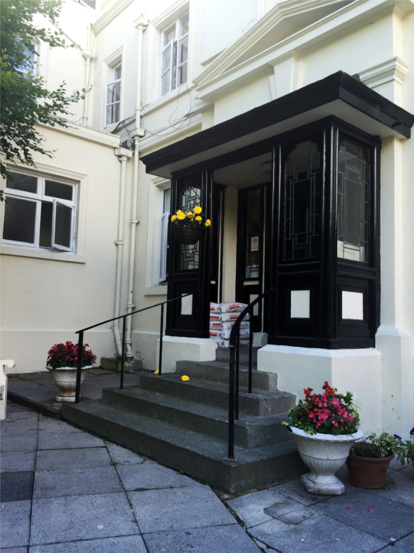 The Portico entrance to Stapely Care